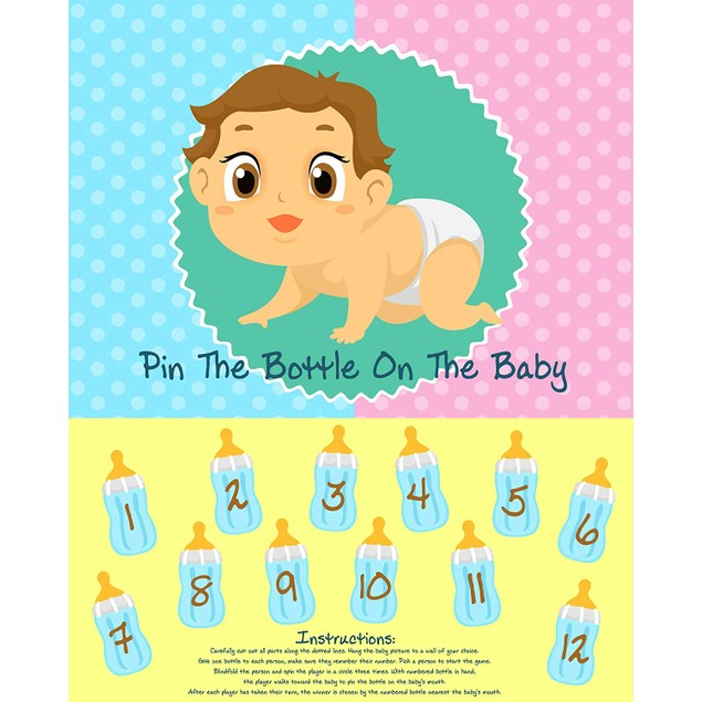 Baby Shower Party Game (Pin the Bottle or Pacifier on the Baby)