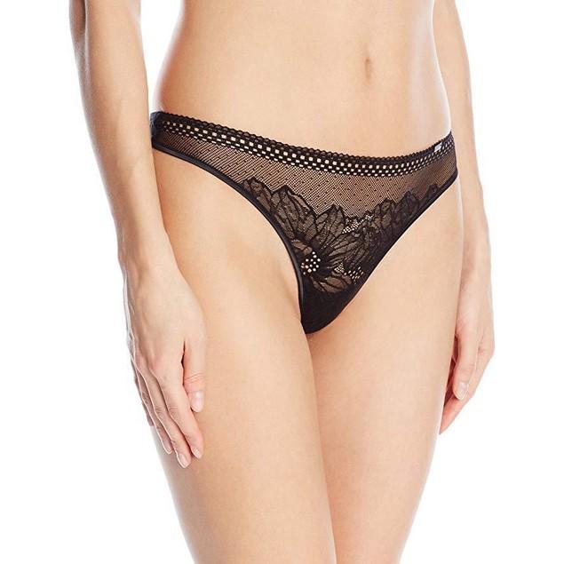 Calvin Klein Women's Ck Black - Sway Thong Panty, Large