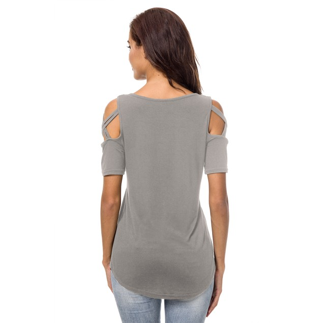 Women's Solid Criss Cross Shoulder Top