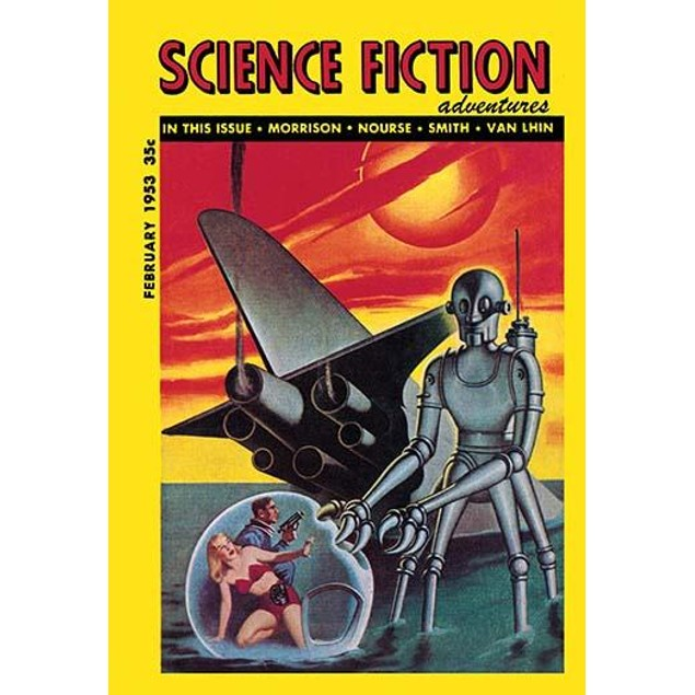 """Science Fiction Adventures, Feb. 1953, cover by Earle Bergey.  """"Adventures"""