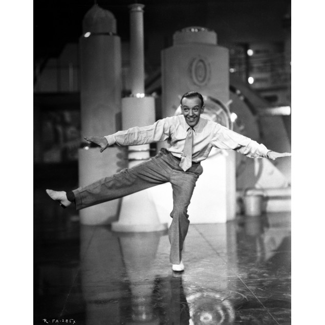 Fred Astaire Dancing in One Leg in Black and White Poster