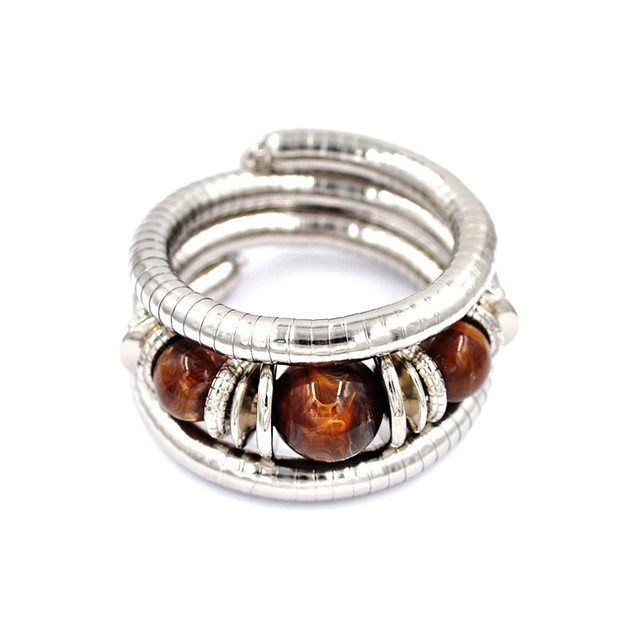 Novadab Wrap Silver and Tiger Eye Bracelet