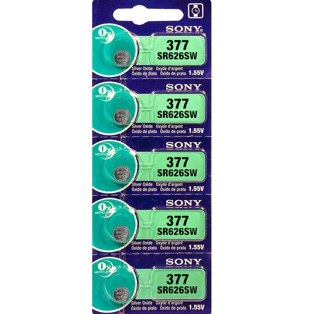 Sony 377 (SR626SW) 1.55-Volt Silver Oxide Watch Batteries (5 Pack)