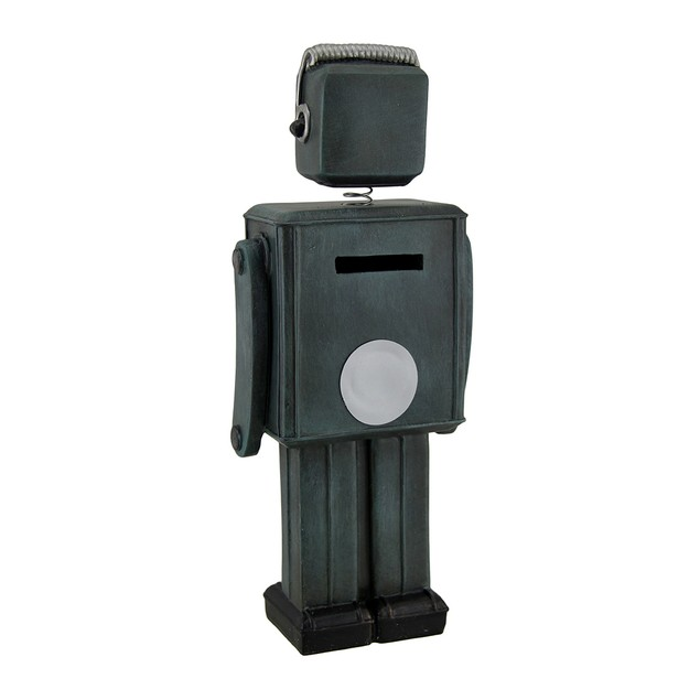 Green Vintage Finish Retro Bobble Head Robot Coin Toy Banks