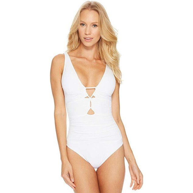 LAUREN Ralph Lauren Women's Beach Club Keyhole-Front One-Piece White S