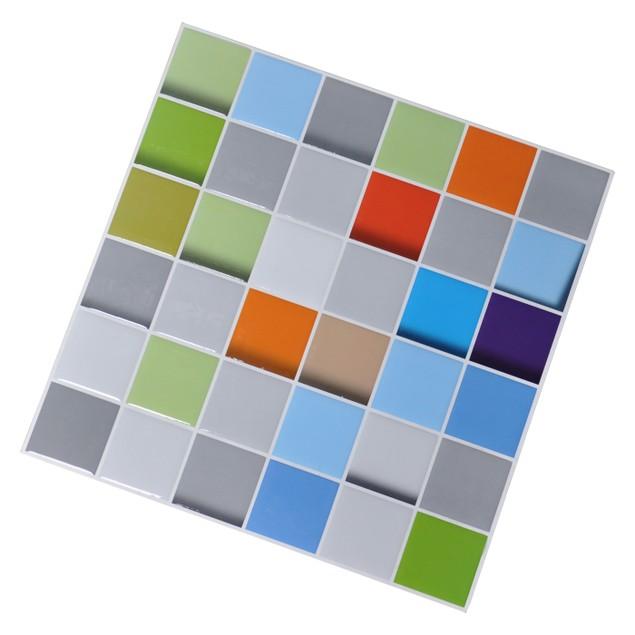 Art3d Self Adhesive Tile Backsplash Colorful Square 6