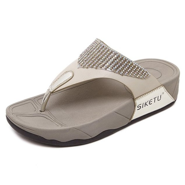 Comfy sandals - Water Drill Thick Bottom Female Cool Slippers