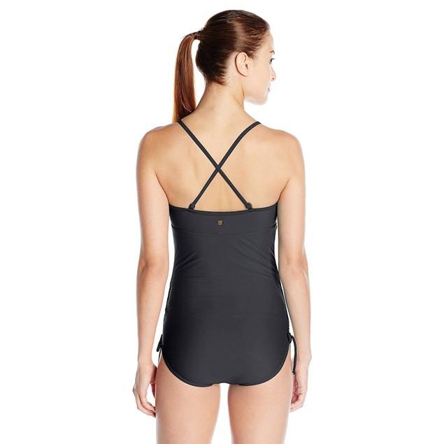 prAna Women's Moorea One Piece Swimsuit, Black SZ: L