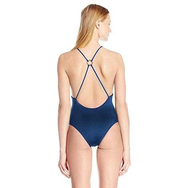 Dolce Vita Women's Solid One Piece Cross Back Swimsuit, Dusk, SZ: M