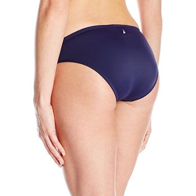 Nautica Women's Signature Retro Pant Bikini Bottom, Navy, SZ M