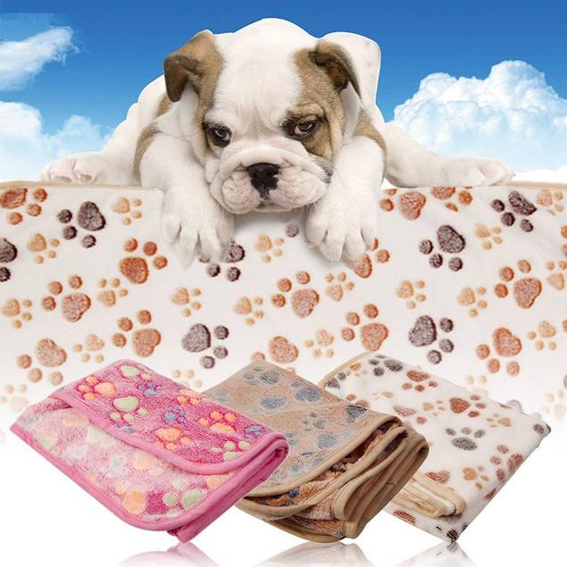 Thick Pet Paw Print Blanket - Choose Size