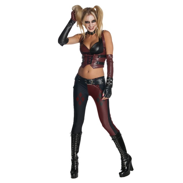 Harley Quinn Sexy Womens Costume Adult Arkham City Batman Super Villain