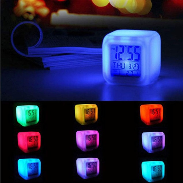 Glowing LED Multifunction Cube Alarm Clock