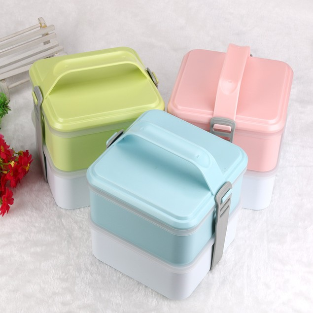 2-Layer Bento Lunch Box Food Container - Assorted Colors