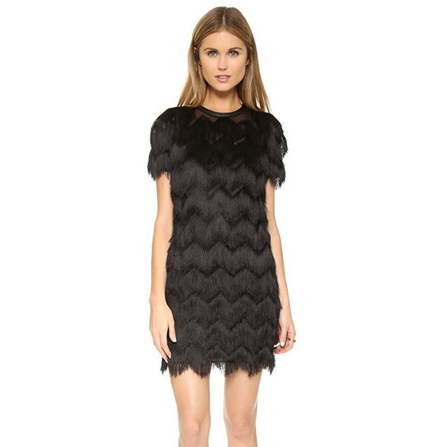 Rebecca Minkoff Women's Verses Fringe Dress, Black, 4
