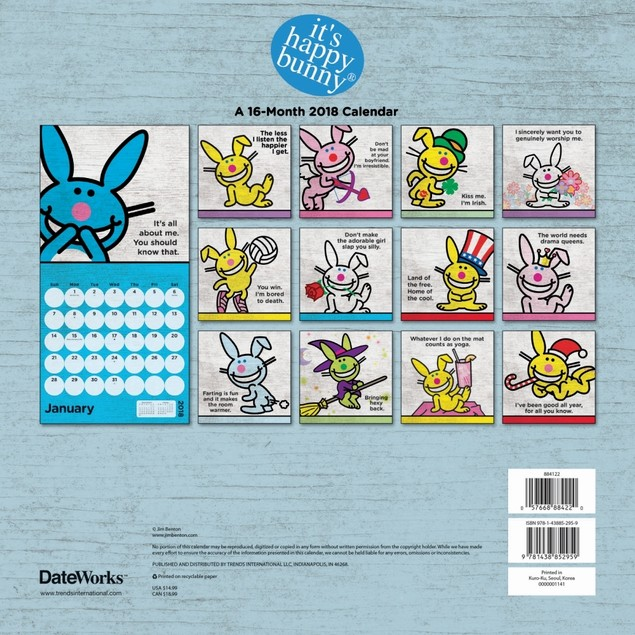 It's Happy Bunny Wall Calendar, More Humor by Calendars