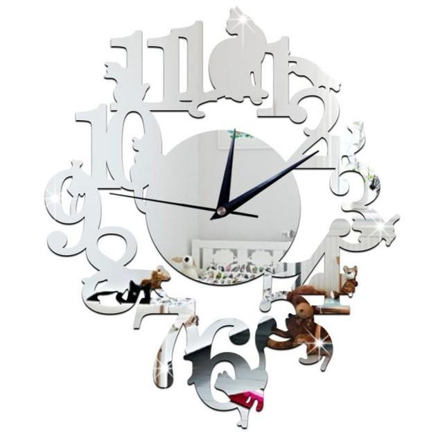 Unique Cat Mirror Silver Clock Wall Sticker