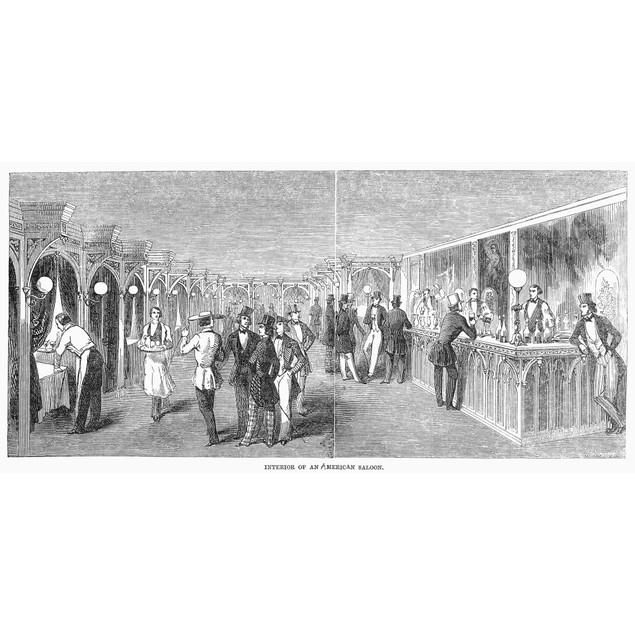 American Saloon, 1846. /Nwood Engraving, English, 1846. Poster