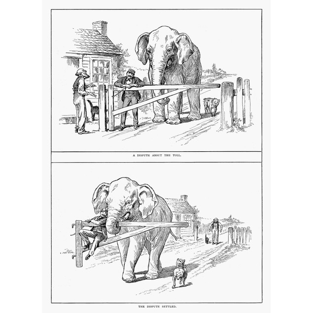 Toll Road Cartoon, 1891. /Ntop: 'A Dispute About The Toll.' Bottom: 'The Di