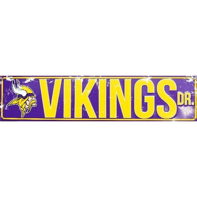 "Minnesota Vikings NFL Vikings Drive ""Distressed"" Metal Street Sign"