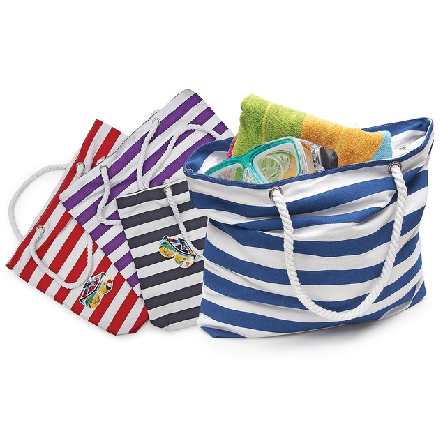 Beach Tote Bag with Large Inner Zipper Pocket and Rope Handles