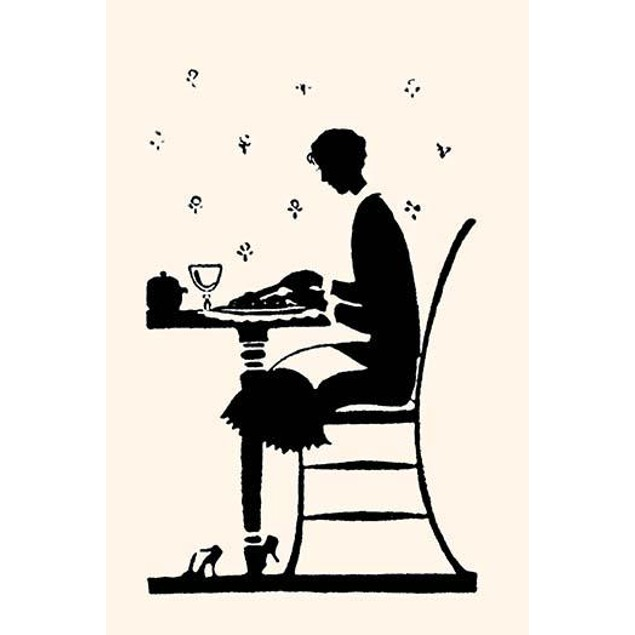 Silhouette of a homemaker eating with a napkin in her lap Poster