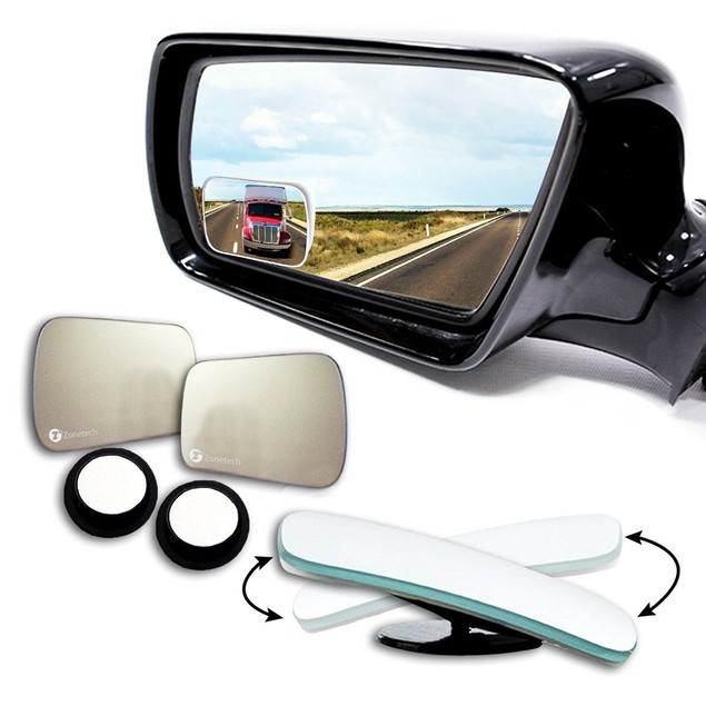 Zone Tech 2x Car Blind Spot Adjustable Rotatable Square Mirrors