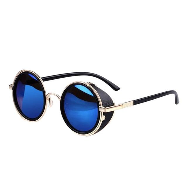 Mirror Lens Round Glasses Steampunk Sunglasses Vintage Retro