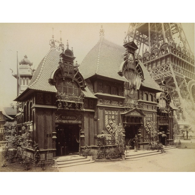 Nicaraguan Pavilion at the Paris Exposition in 1899; The country's name mea