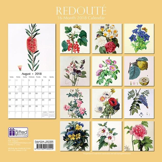2018 Redoute Wall Calendar