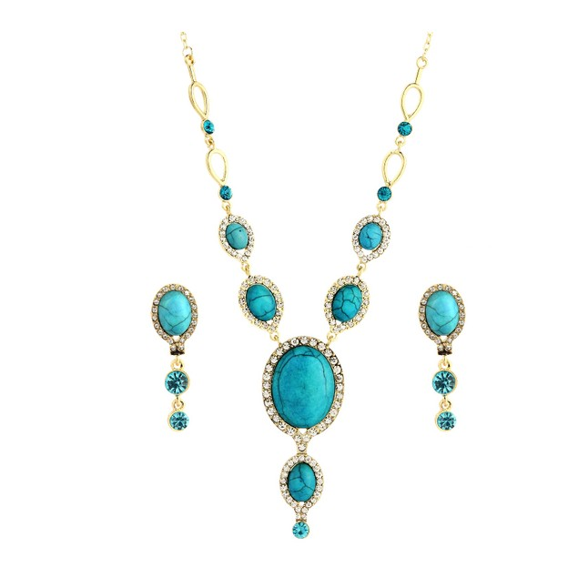 Egyptian Blue Nile Turquoise Necklace Set