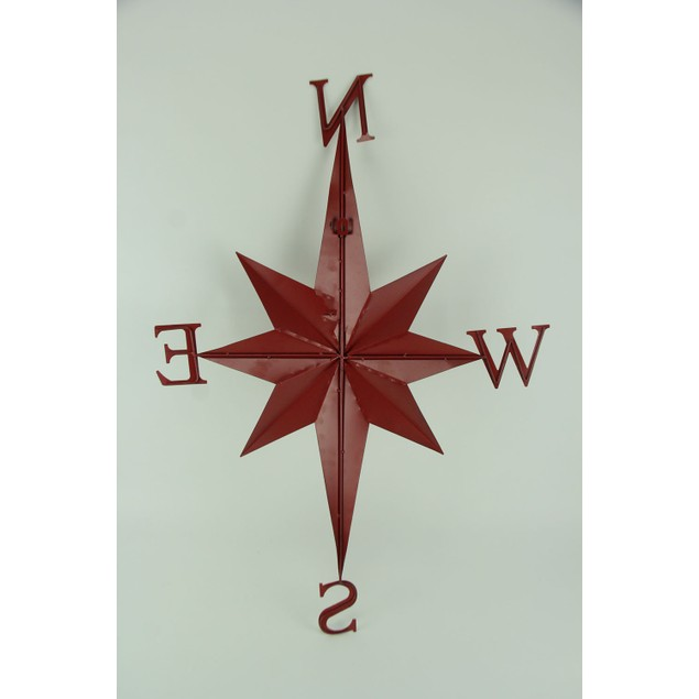 Distressed Finish Red Compass Rose Wall Hanging 37 Wall Sculptures