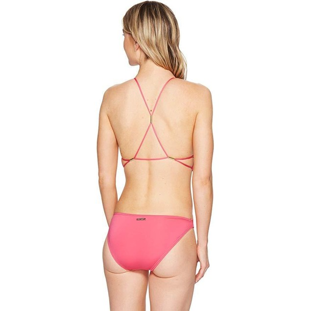 Vince Camuto Women's Hardware Plunge Strappy Back One-Piece SZ: 6