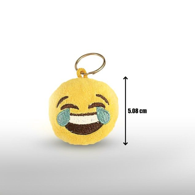 Emoji Keychain Round Faces Set of 10 - Cute Sweet Soft & Plush Yellow