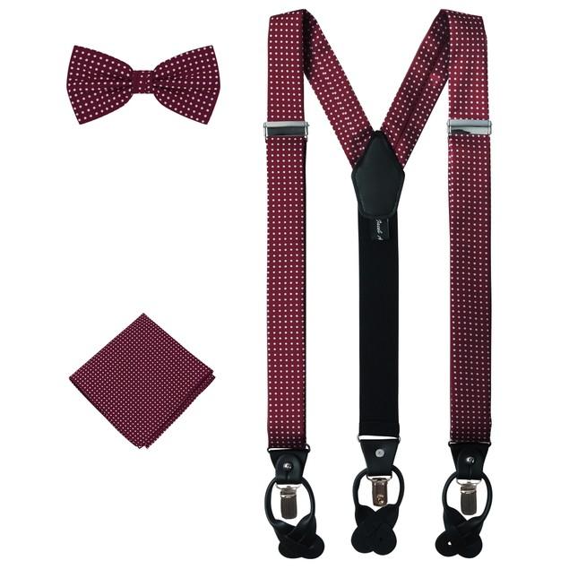 Jacob Alexander Matching Polka Dot Suspenders Handkerchief and Bow Tie