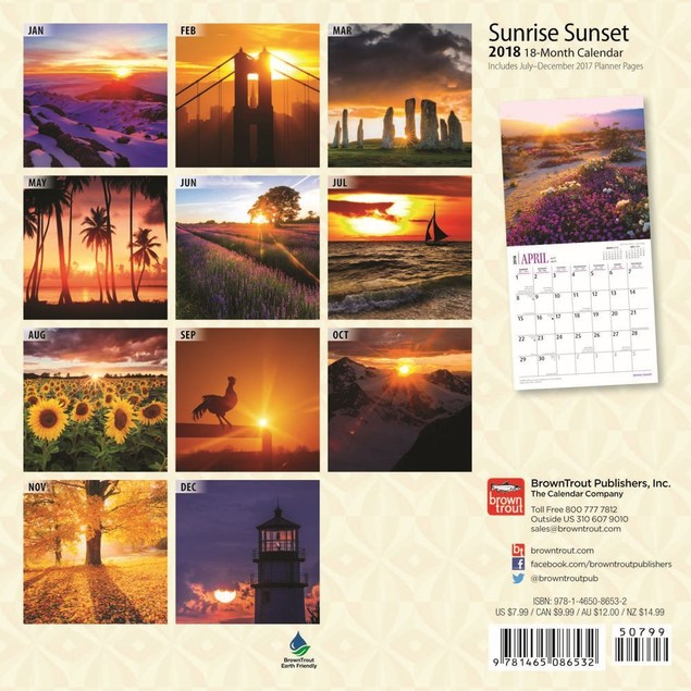 Sunrise Sunset  Mini Wall Calendar, Landscapes by BrownTrout