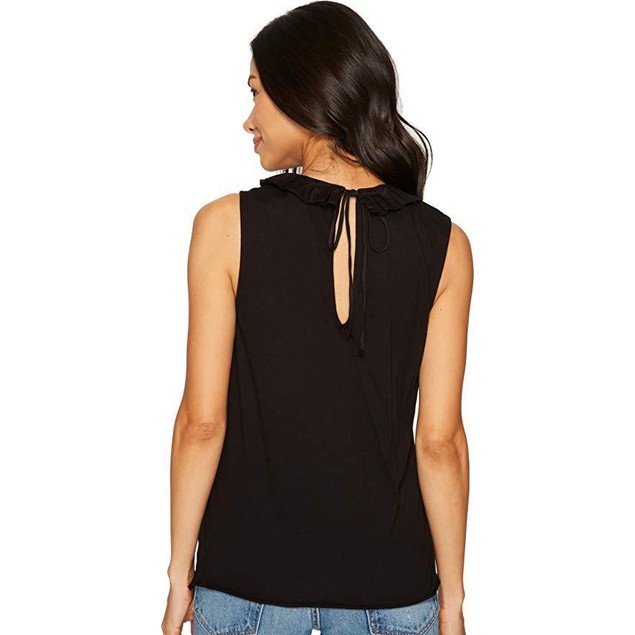 AG Adriano Goldschmied Women's Fae Ruffle Tank Top True Black Medium
