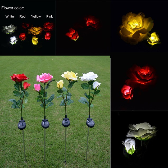 2 Head Solar LED Decorative Outdoor Lawn Lamp 2 Head Sun Rose Light