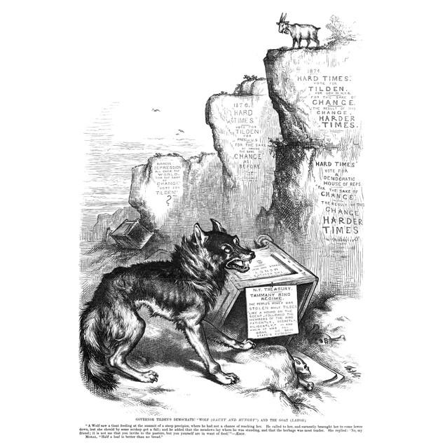 """Nast: Tilden Cartoon, 1876. /N'Governor Tilden'S Democratic """"Wolf (Gaunt An"""