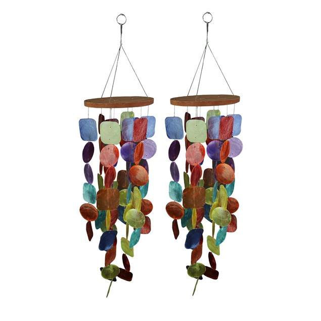 Set Of Two 26 Inch Long Capiz Shell Hanging Wind Wind Chimes