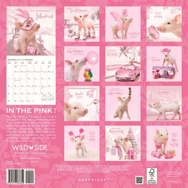 Pigs In the Pink Wall Calendar, Pigs by Calendars