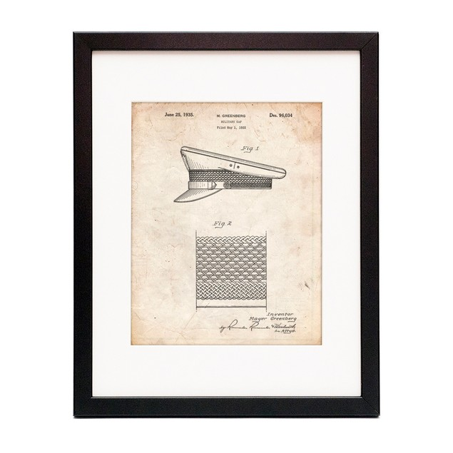 Military Hat 1935 Patent Poster