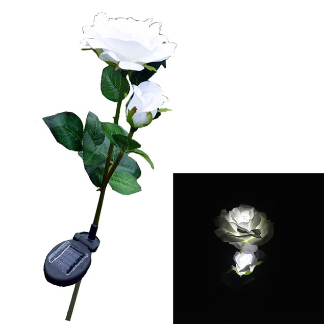 2 Head Solar LED Decorative Outdoor Lawn Lamp 2 Head Sun Rose Light