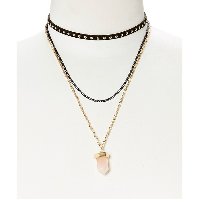 Quartz Pendant Choker Layering Necklace