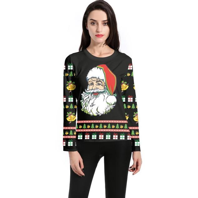 Women Long Sleeve Pullover Sweatshirt Santa Claus Christmas T-Shirt Tops