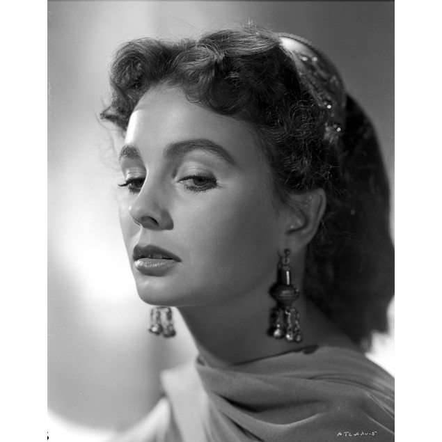 Jean Simmons Close Up Portrait in Sheer Silk Scarf and Dangling Fringe Earr