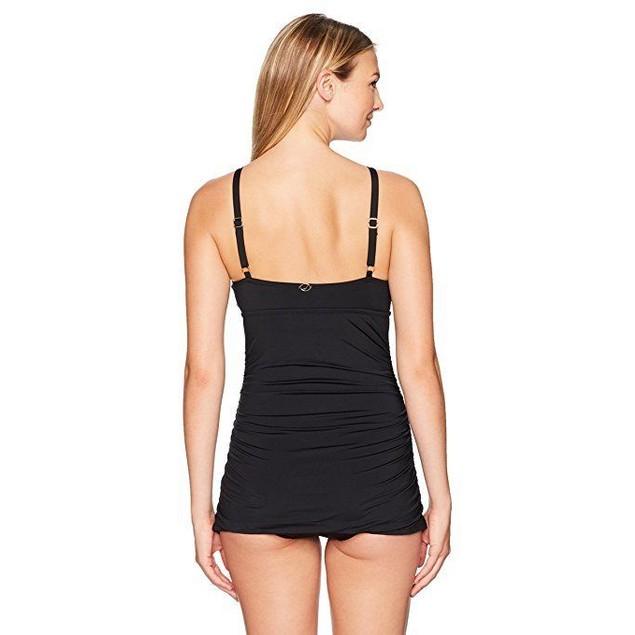 Jantzen Women's Solid Swim Dress One Piece Swimsuit, Black, Sz: 8