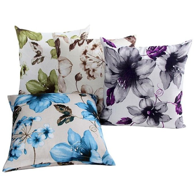 Flowers Pattern Sofa Bed Home Decor Pillow Case Cushion Cover