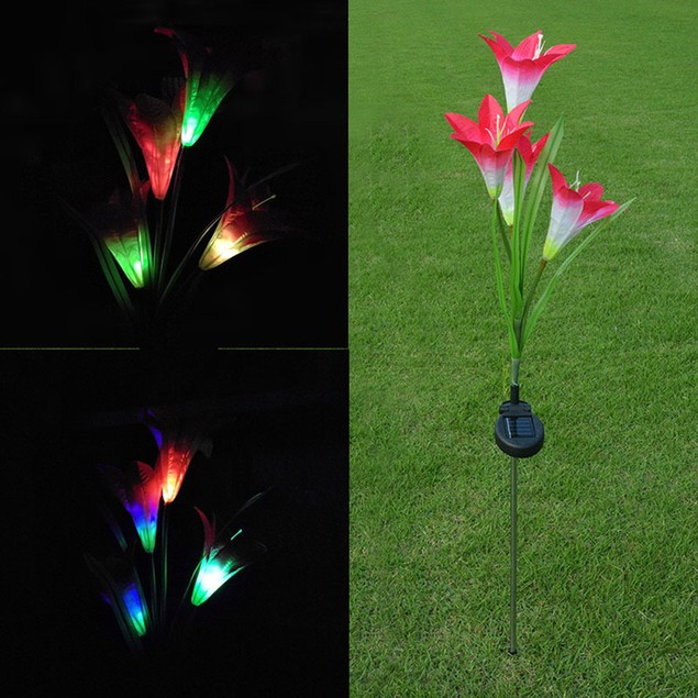 Colorful Color Change 4 Solar Lily Lantern Outdoor LED Simulation Lantern