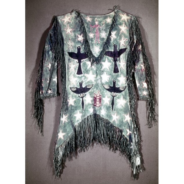 Pawnee Ghost Dance Shirt. /Npainted Buckskin Shirt Used In The Pawnee Ghost